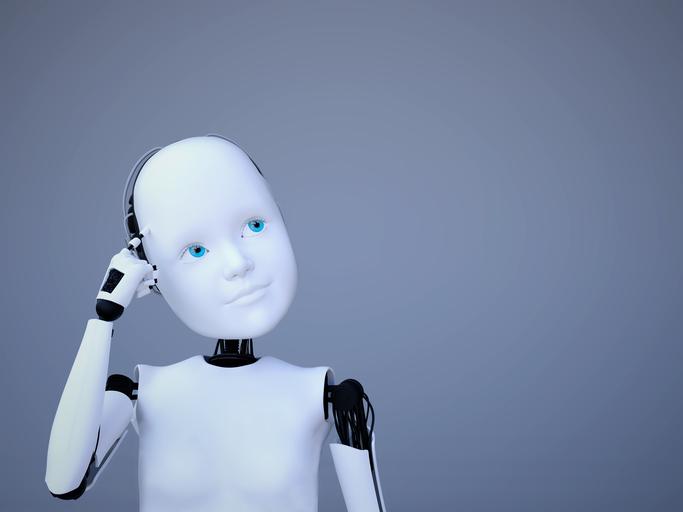 thinking robot doll