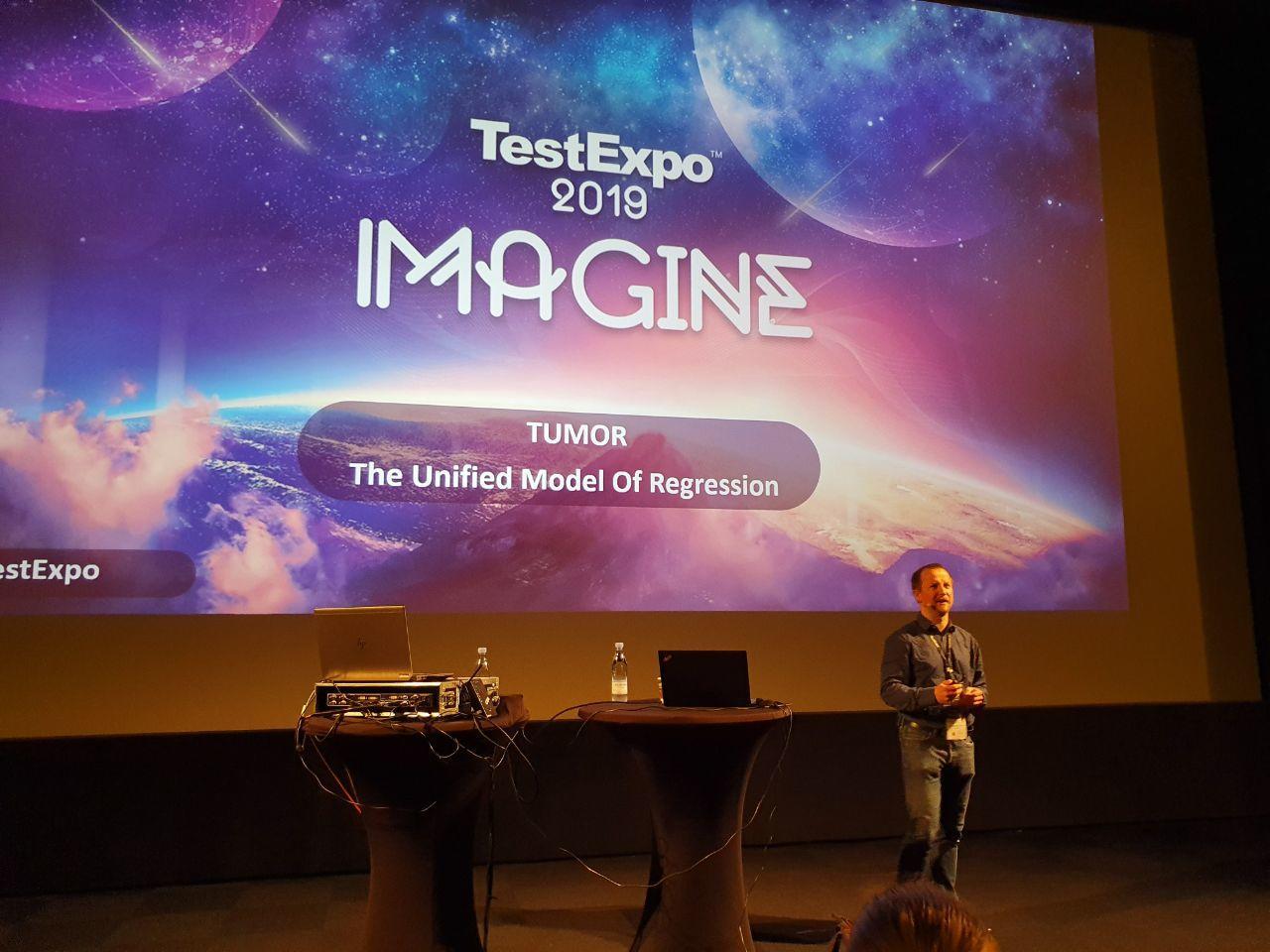 Bartek presenting at Test Expo 2019