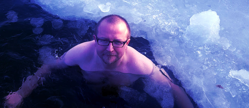 Bartek winter bathing in a sea of ice